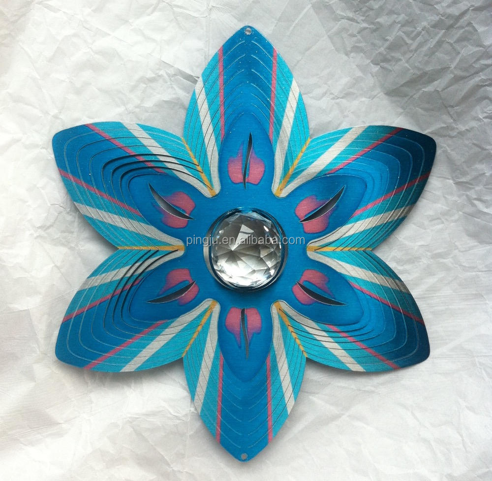 Garden decoration wholesale 3D Wind spinner- Crystal Flower