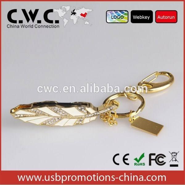 Bijoux en or feuille forme USB <span class=keywords><strong>flash</strong></span> drives, Cristal de diamant bijoux USB memory stick avec le logo du client