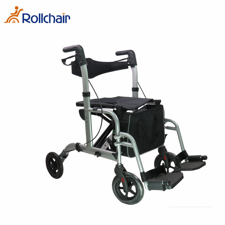 Folding Aluminium Rollator Shopping Cart With Seat For Disabled