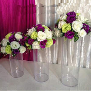 Acrylic Cylinder Vase Clear Round Plastic Wedding Table Road Lead Flower Vase