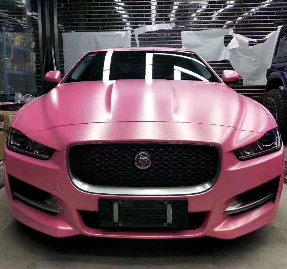 Self Adhesive Film Car Wrap 1.52*18メートルMatte Gold Glitter Diamond Pink Car Wrap Vinyl