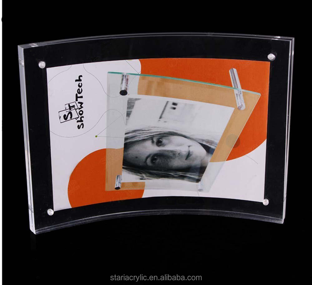 "Clear Acrylic Freestanding Curved Poster Picture Frames with Magnetic 8.5x11"", Plexiglass Photo Holder"