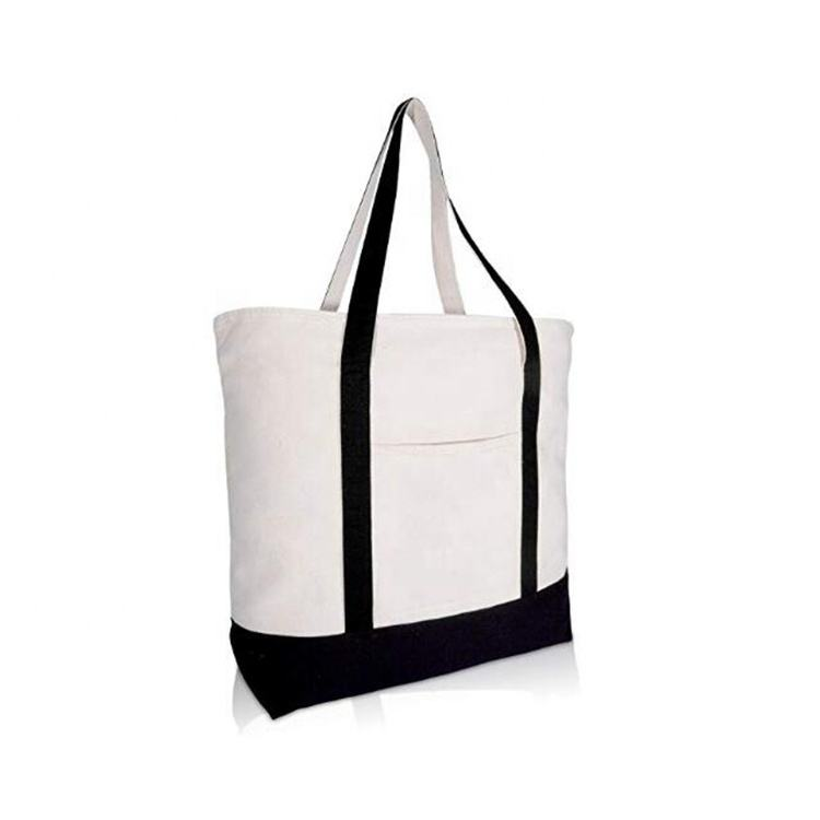 OEM custom promotional natural cotton canvas tote bag zipper in packaging