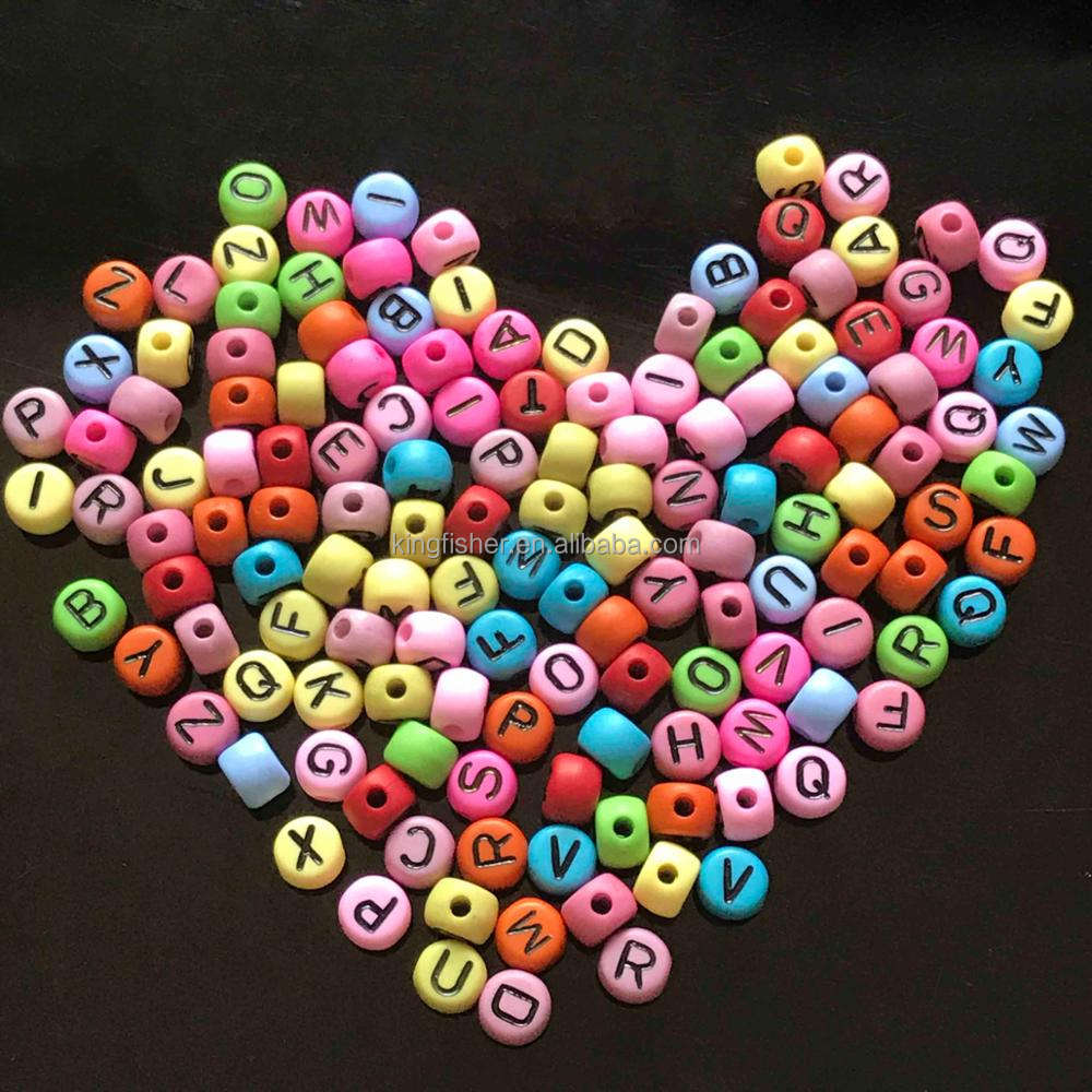 100-1000pcs  flat round assorted solid colourful numbers beads approx 7mm