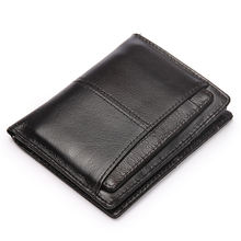 Men's wallet with removable card holder  real cow leather short vertical casual purse money bag factory wholesale
