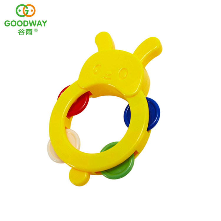 Custom Kids Safe Plastic Rabbit Rattle Baby Musical Toy With Colorful Clapper