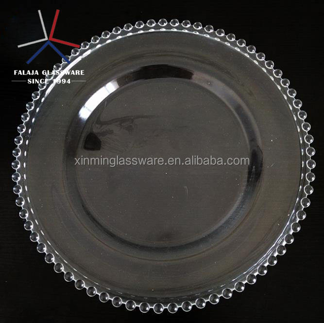 clear beaded round big charger plates
