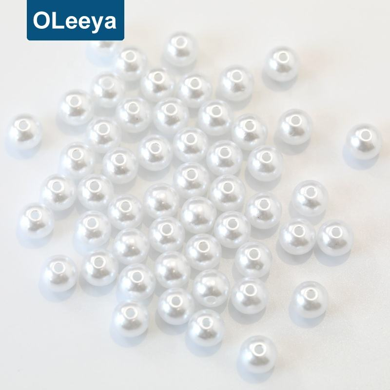 Factory direct sale artificial 10mm over 40colors loose plastic round pearls with 1 hole for costumes decoration