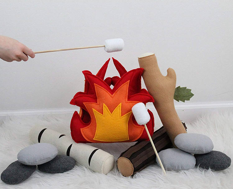 Kids Indoor Camping fire Toy Pretend Play Camping Fireplace Felt/Plush Campfire Bonfire Play Set