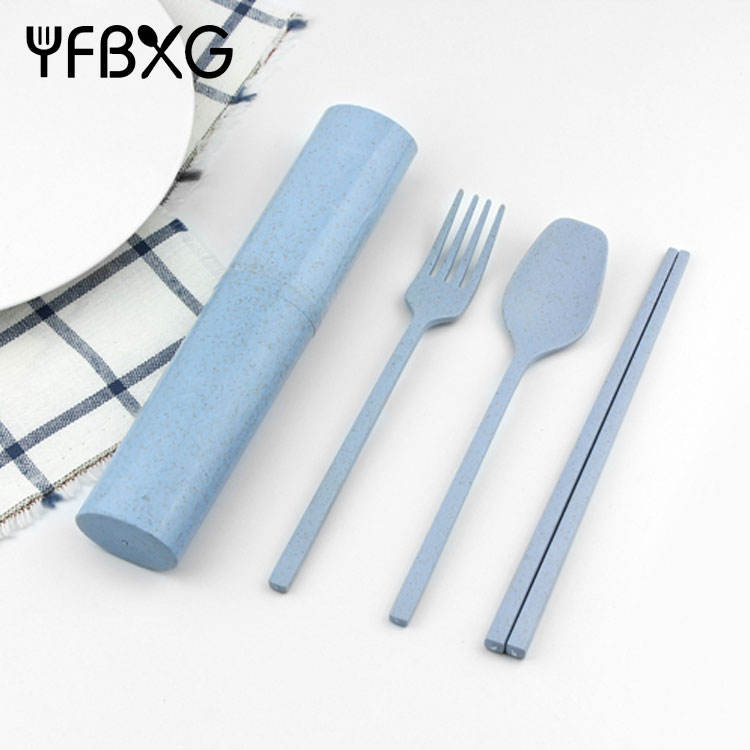 Child Tableware, Wheat Straw Spoon Fork and chopstick cutlery, Travel portable tableware