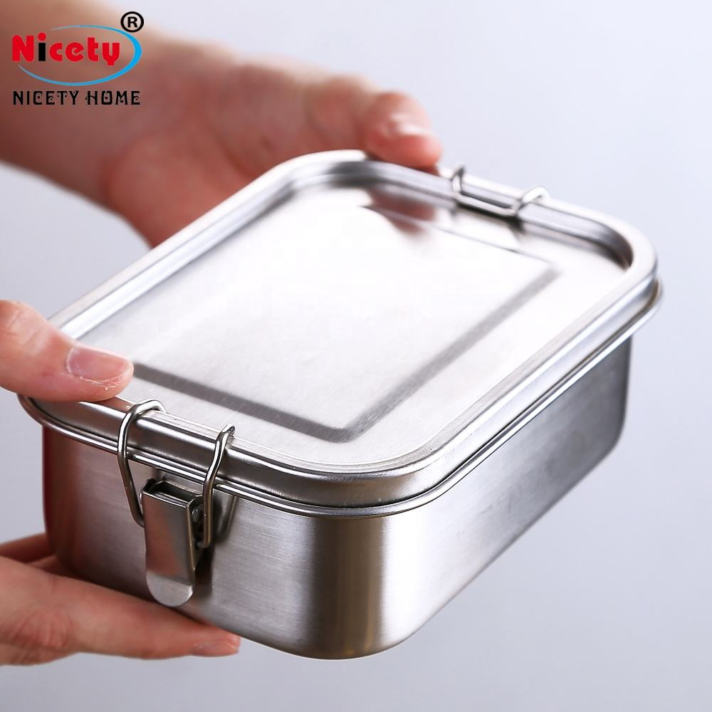 Extra large BPA Free food grade rectangular metal stainless steel lunch bento box