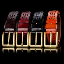 Top quality belt,3.8cm width pin buckle belt unisex genuine braided leather belts