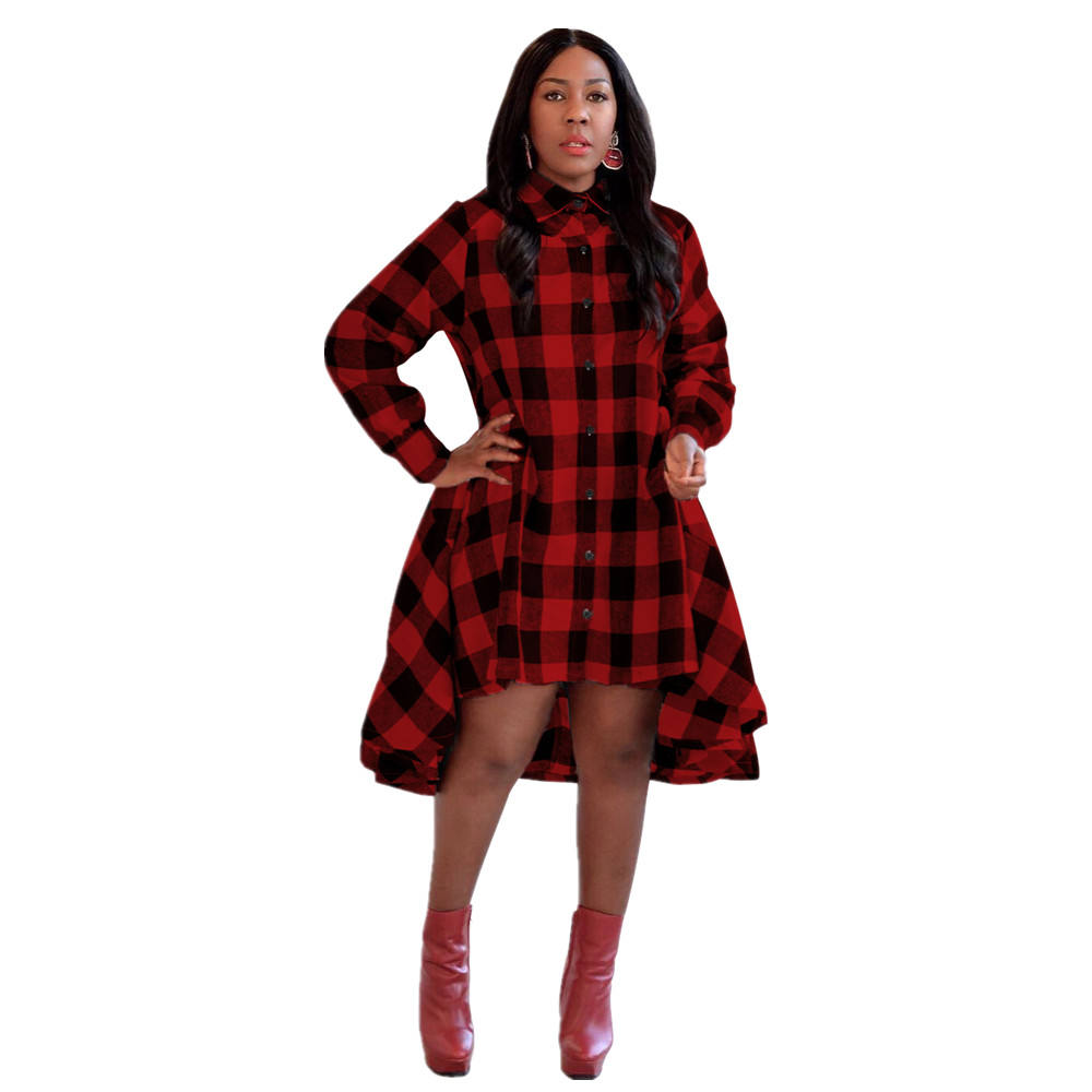 Ready to ship OEM ODM M5130 Autumn Style Women Clothing Plus Size Grids Printed Casual Dresses