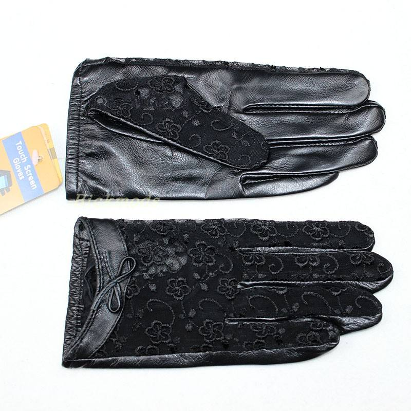 Hot Spring and Autumn Women's Sheepskin Gloves Bow Elegant Lace Style Ladies Leather Gloves