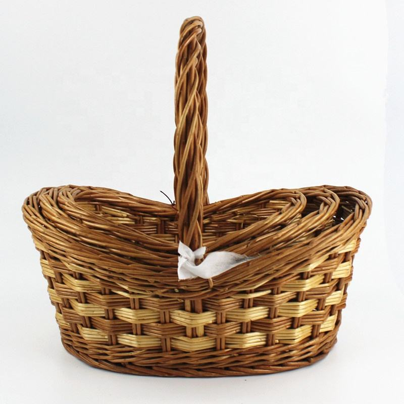 Chinese gift wedding wicker baskets handle, golden gift basket