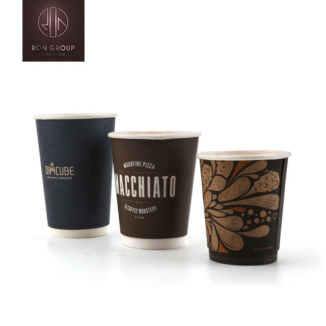 Popular High Quality Custom Logo Printed Disposable Double Wall Corrugated Paper Coffee Cup With Lids