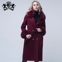 Autumn Winter Ladies Cashmere Long Coat Women Wool Coat with Fur Collar