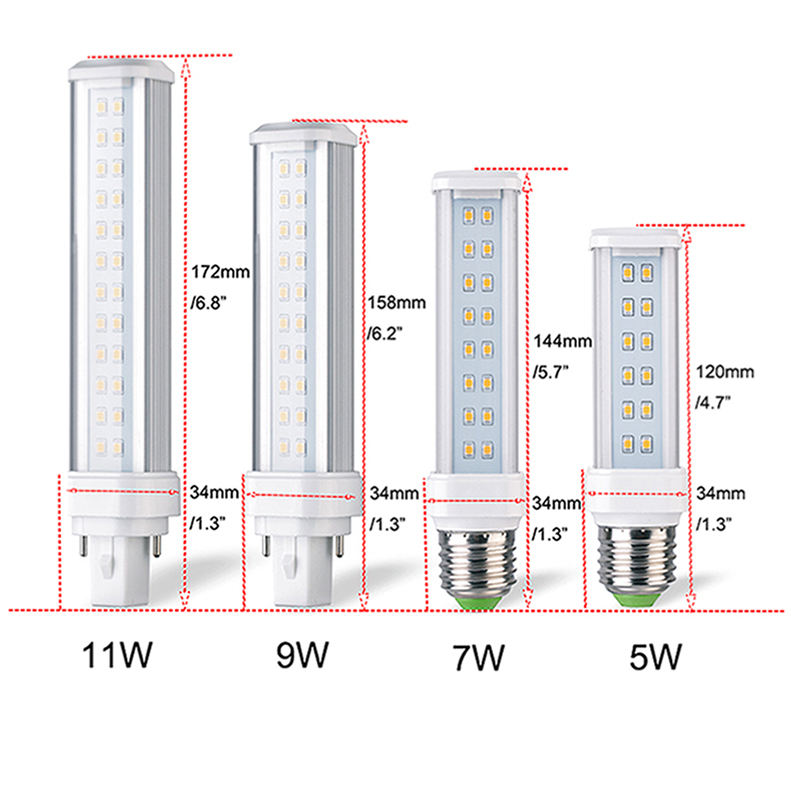 "9W 158mm/6.2 ""범용 G24 2pin 4pin 기본 LED PLC 램프 동등한 작동 80-300V AC Harizontal Recessed PL LED 조명"