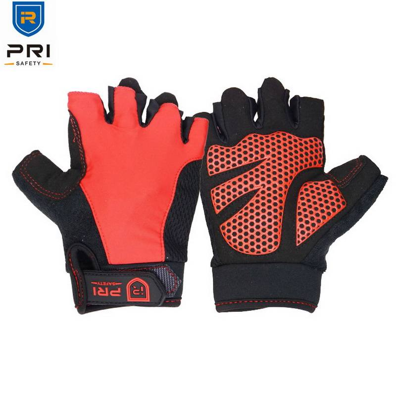 Red Foam Padded Palm Outdoor Workout Bike Gym Custom Other Sports Fingerless Cycling Gloves