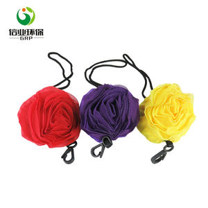 key ring rose foldable shopping reusable grocery nylon folding bag into pouch