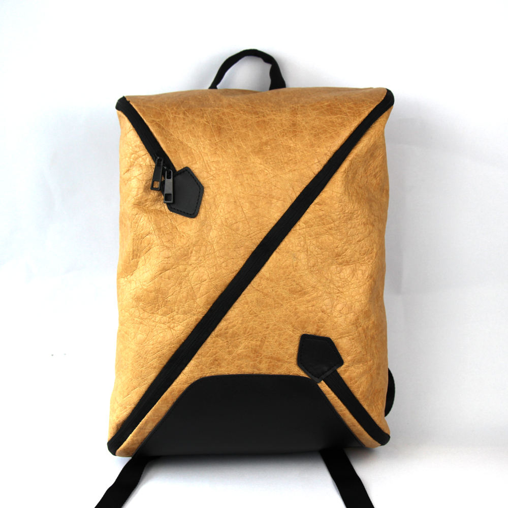 Recycle washable kraft paper laptop backpack bag