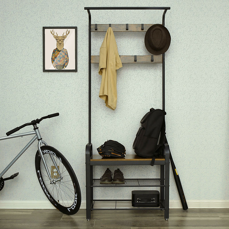 VASAGLE China Furniture Wholesale Metal Frame Modern Coat Rack Entryway Storage Rack With Bench