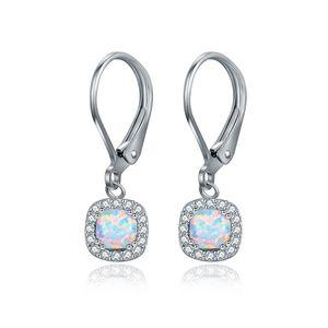 New elegant square shape white fir opal earrings women girls clip- on earrings