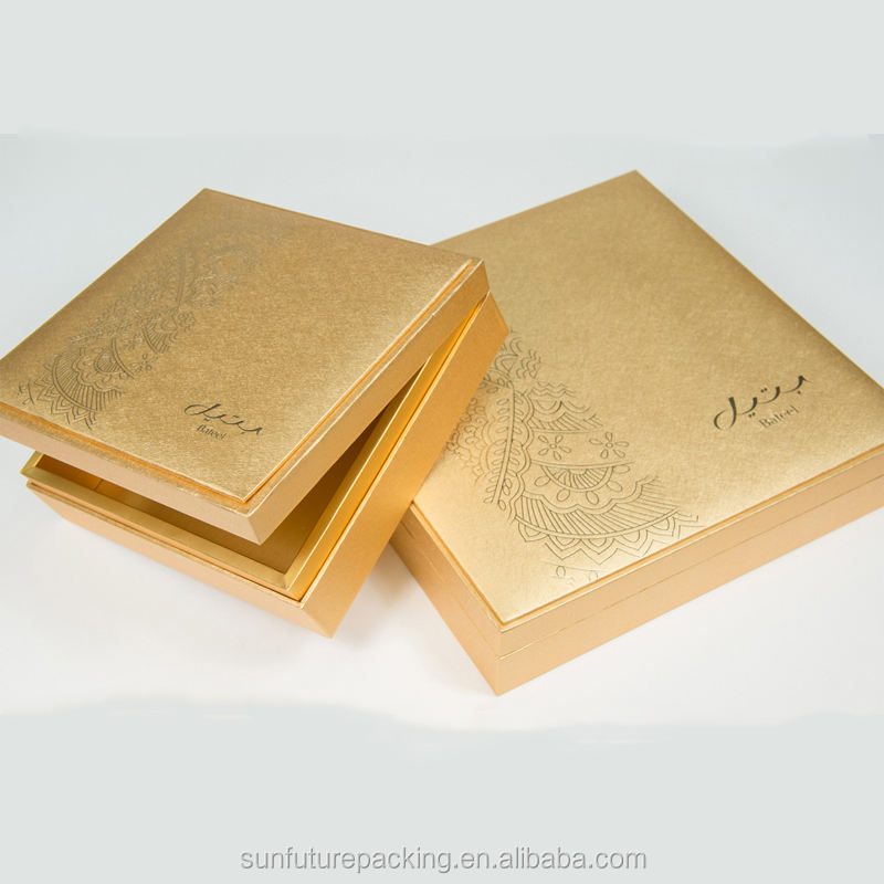 Sample Free 4pcs Gold Color Square Chocolate Dates Box With Dividers