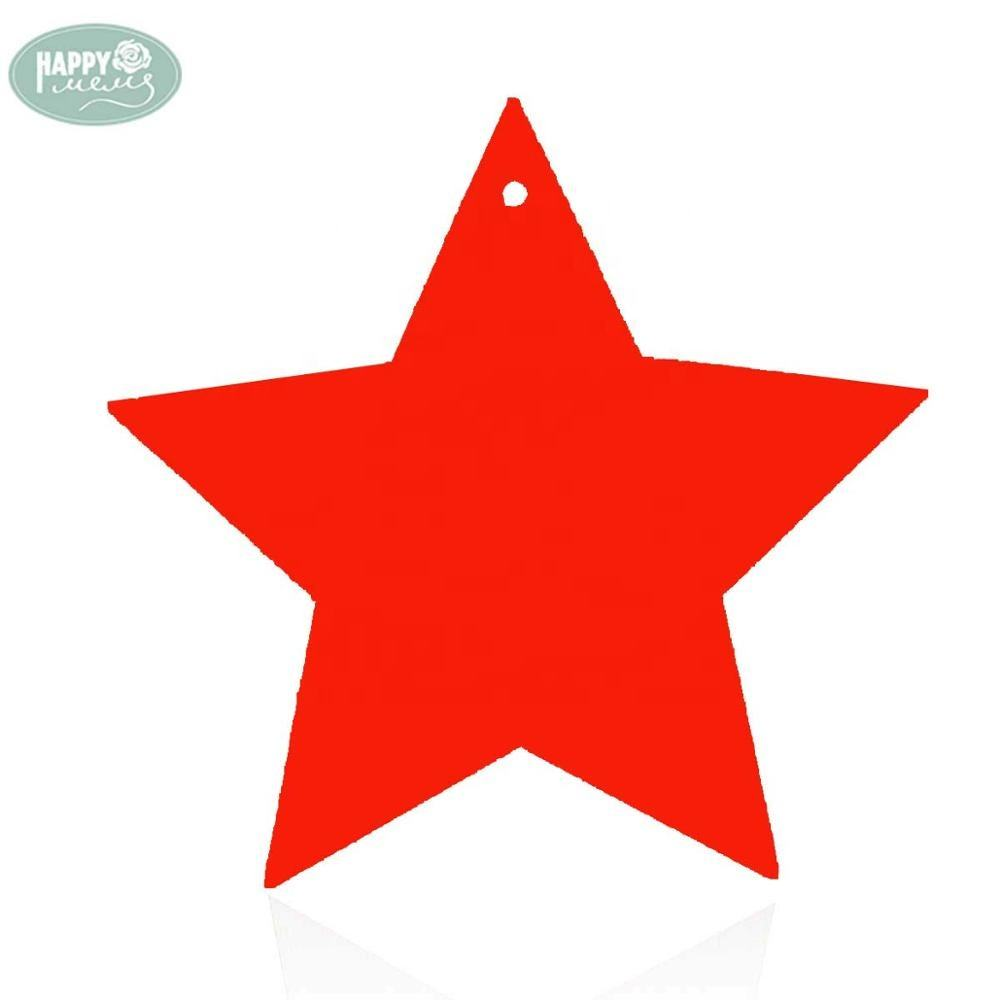 Red Wooden Star Shape Natural Wood for Christmas Home Party Decoration
