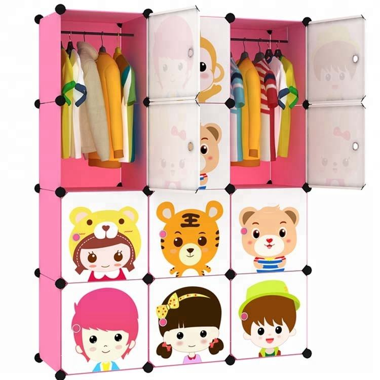 Cartoon door Freestanding ABS Plastic diy folding cupboard baby wardrobe cupboard baby Dust seal wardrobe