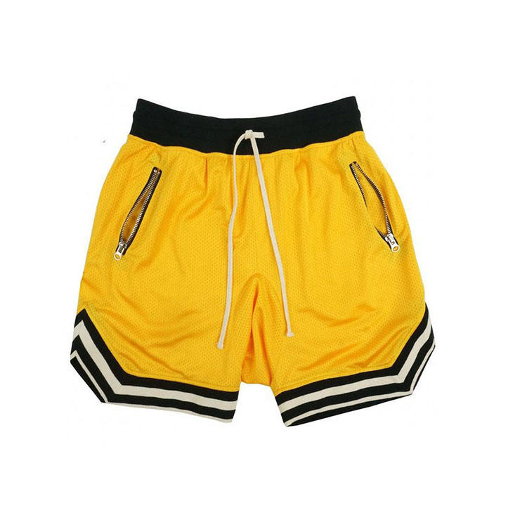2020 wholesale high quality boys blank bulk sports basketball shorts with zipper pockets