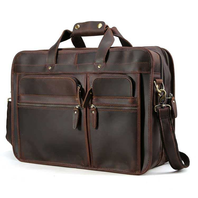 "Tiding 17.3"" Travel Computer Bag Full Grain Genuine Cow Leather Briefcase For Men"