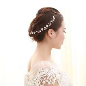 European Fashion Long Simple Bow Pearl Flower Crystal Bridal Simple Wedding Hair Accessories For Bridal