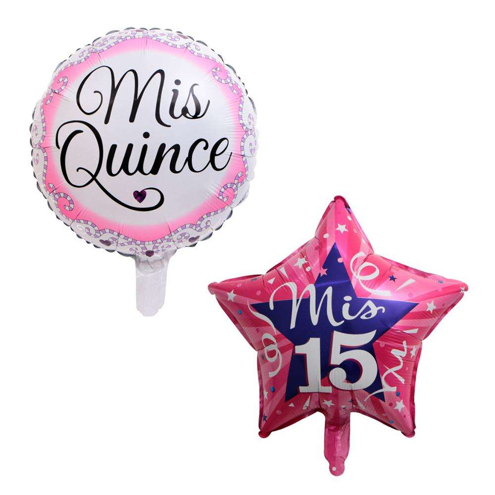 50pcs/lot 18Inch Round Star Mis Quince Aluminum Foil Balloon Helium Spanish My Fifteen Pink Girl 15th Birthday Party Decor