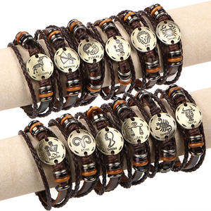 Classic Style Leather Zodiac Sign Bracelet Metal Plate Alloy Zodiac Charm Bracelet For Men And Women