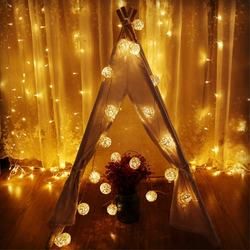 LED battery colored patio cotton ball string light