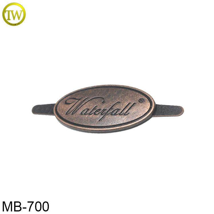 Manufacture small oval bags labels custom antique copper metal plate logos for purse accessory