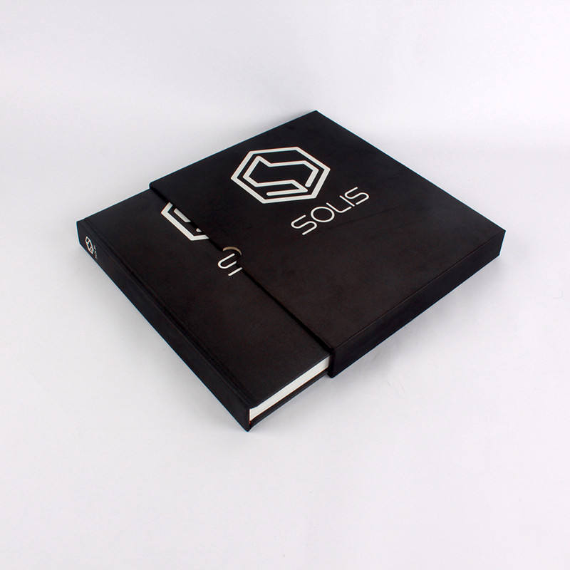 Custom black cloth hardcover book with carton box