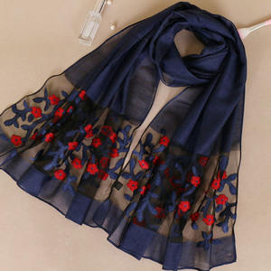 Wholesale Fashion Women Embroidery Flowers Muslim Scarf Hijab