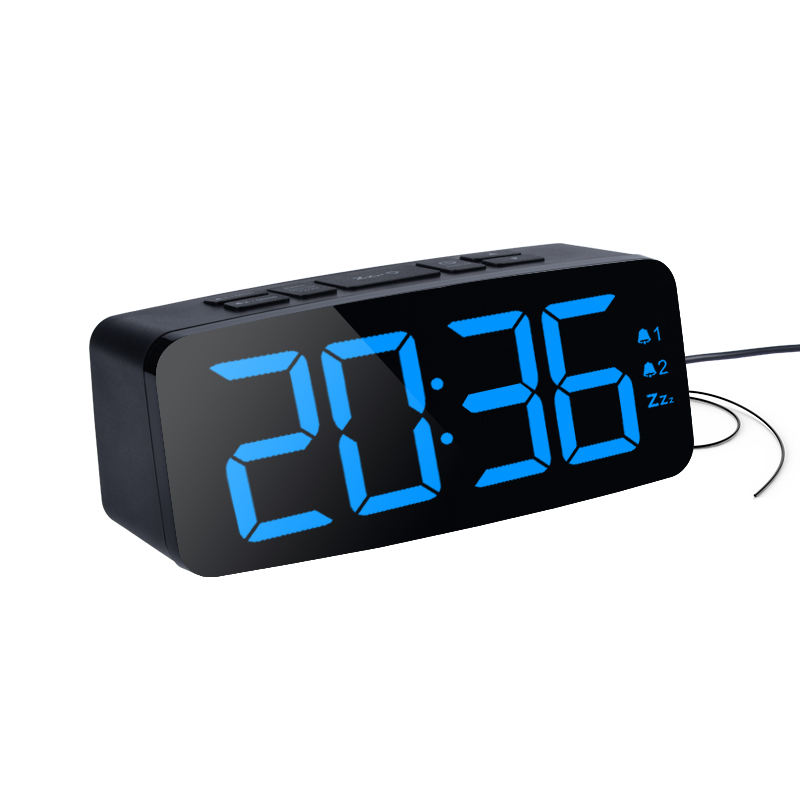 Dual Alarm Snooze 12hr 24hr Format and Four levels brightness 15 Preset Radio Stations Digital Alarm Clock with FM Radio