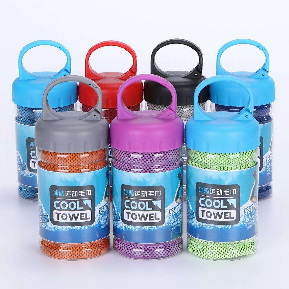 Custom super magic sports towel ice pva instant neck microfiber cooling towel in bottle with logo