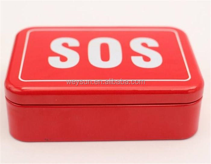 100pcs 96x66x30 mm SOS / + Tin Box Case Emegency Lid Container for Survival Gear Kits Set Self-Help First Aid Metal Pill Box