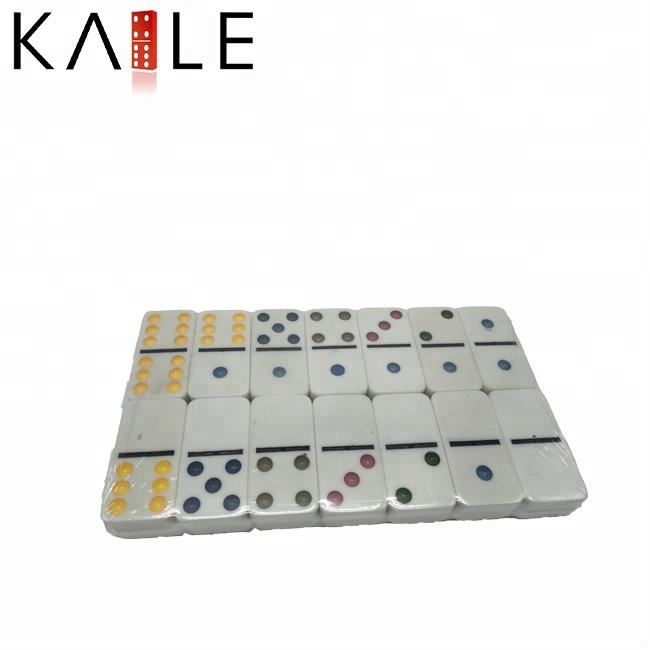 Cheap Kids Toy Factory Colored Dots Dominoes For Wholesale With Transparent Case
