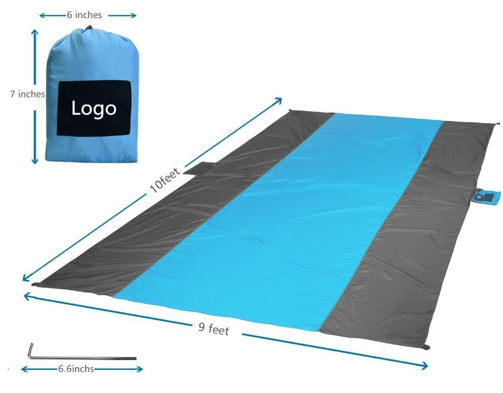 9' X 10' Family Pack Portable Picnic Mat/Made of 100% Parachute Nylon Camping Mat /Sand Free Compact Outdoor Beach Blanket