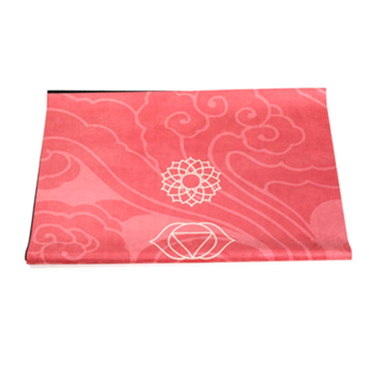 Factory price custom suede yoga mat with anti slip rubber line