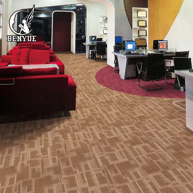 China Benyue rubber backing commercial carpet tiles polypropylene carpet tiles for 5 star hotel flooring