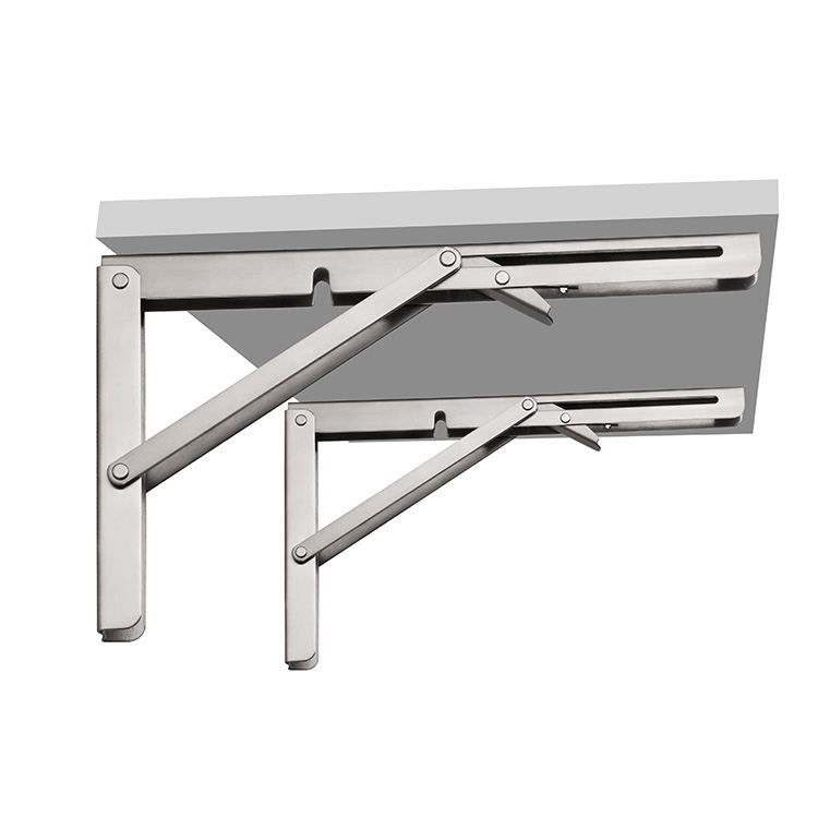 Heavy Duty 90 Degree Decorative 8-24 Inches Stainless Steel Adjustable Angle Wall Mounted Metal Table Folding Shelf Bracket
