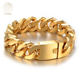 Cool Man Custom Bangle Wristband Jewelry Stainless Steel 20mm Wide 18k Gold Plated Mens Cuban Link Male Charm Bracelet