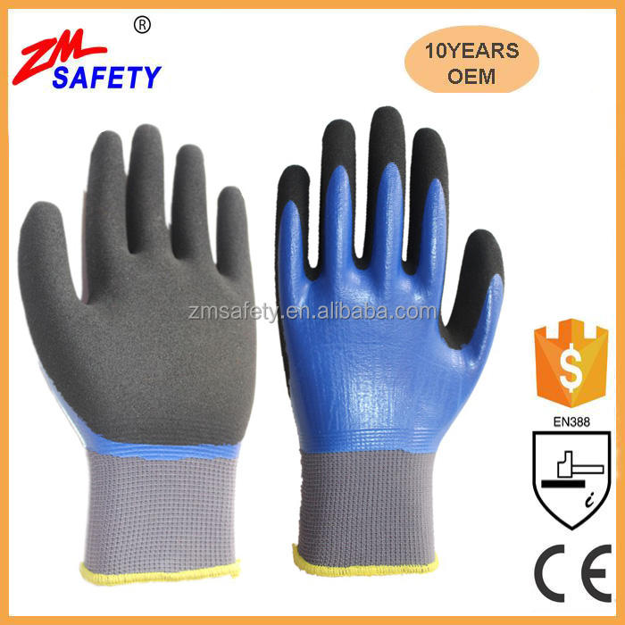 15 Gauge Seamless Knitted Liner Double Dipped Nitrile Waterproof Work Gloves With High Grip Sandy Nitrile Palm