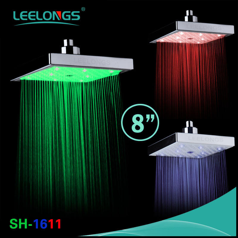 8inch Color Changing Led Lighting Square Rainfall LED Shower Head